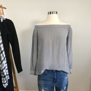 Cabi • Brigitte Blouse Off Shoulder Striped Silk